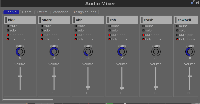 Audio Mixer Volume Section