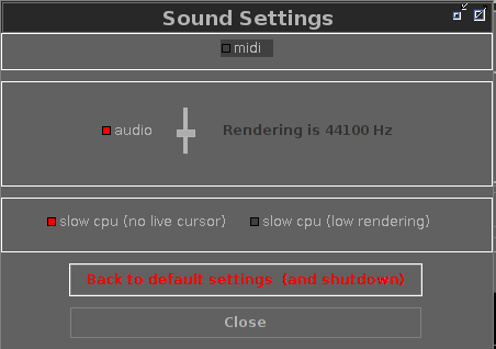 select sound settings section